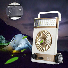 Solar Power/AC Rechageable LED Camping Tent Lantern Flashlight Cool Fan Light