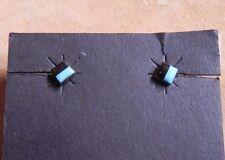 Turquoise & Onyx Inlay Sterling Silver Petite Stud Earrings Navajo