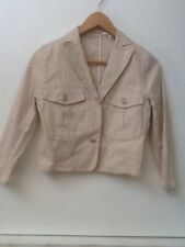 Max Studio Light Jacket Blazer Tan Cropped 3/4 Sleeve Size 0