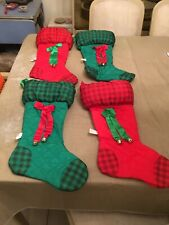 Christmas Stockings- Lot of 4, fabric, green, red, ribbon and bell accents