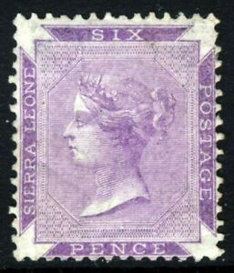 SIERRA LEONE Queen Victoria 1874 Six Pence Reddish-Lilac No Watermark SG 4 MNG