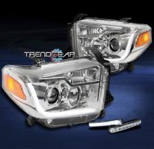 2014-2017 TOYOTA TUNDRA CHROME SET PROJECTOR LED BAR HEADLIGHT+BUMPER SIGNAL DRL