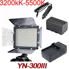 YN300III 3200K-5500K LED+4400mAH Battery + Charger for Canon Nikon DSLR Camera