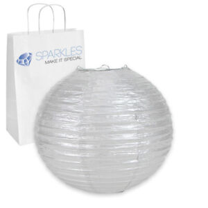 """12 pcs 10"""" inch Chinese Paper Lantern - Silver - Wedding Party Event ep"""