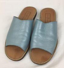 COLE HAAN Teal Blue Leather Slide Resort Sandals Women's 8 B Slip On