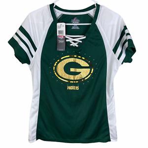 NEW Green Bay Packers NFL Fan Fashion Shirt Women's Medium Green White Sequin