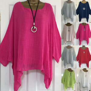 Womens Long Sleeve Baggy Blouse T Shirt Tops Ladies Casual Tunic Plus Size 8-26