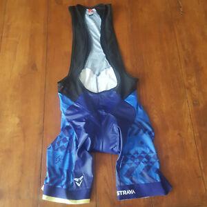 Cuore Mens XL Cycling Bibshorts Gran Fondo Blue Strava Compression Shorts Bib