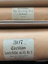 "2 Antique Farrand Organ Player Piano Rolls Cecilian 307, 2145 ""The Mocking Bird"""