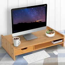 Bamboo Desktop Monitor Riser Laptop PC Plinth Stand Organiser Computer Screen