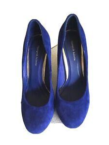 Django Juliette Goldeneye Blue Suede Heels Size 38 / 7-7.5