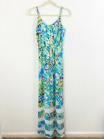 Lilly Pulitzer Deanna Spaghetti Strap Maxi Dress Sea Soiree XS Spaghetti Straps