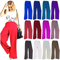 New Womens Plain Palazzo Wide Leg Flared Baggy Stretch Trousers Pants UK 8-26