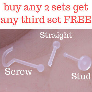 3 Pack Clear Retainer Nose Stud Screw Straight Ear Helix Daith Piercing Bars Lip