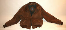 Jacket Leather Suede Bomber Coat XXL Men Brown Harrington Blouson Button Collar