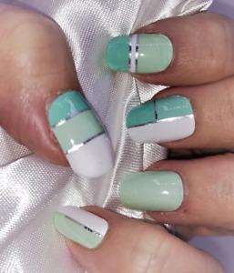 Mint Julep green color real nail polish strips Z163 street art wraps