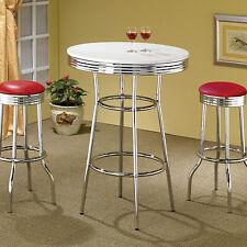 Cleveland 50's Retro Design White Soda Fountain Chrome Accent Round Bar Table