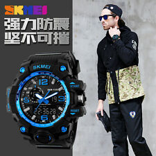 SKMEI UOMO SPORTS WATCH 50m Swim Immersione LED DIGITALE Militare Big Dial 2016-Blu