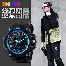 SKMEI Men Sports Watch 50M Swim Dive LED Digital Military Big Dial 2016-BLUE
