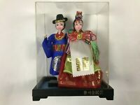 Vintage Korean Native Dolls Ceremonial Wedding Vibrant Colors In Display Case
