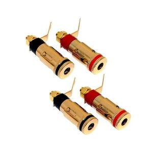 4 x Dynavox Einbaubuchsen Set | Lautsprecher Terminal Anschlussklemmen vergoldet