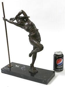 Original Signed Italian Artist Aldo Vitaleh Sexy Pole Dancer Bronze Statue Art