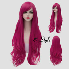 80CM Magenta Long Wavy Basic Style Women Heat Resistant Daily Cosplay Party Wig