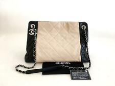 Authentic Chanel Timeless Beige Black Lambskin Shopping Tote Bag SHW