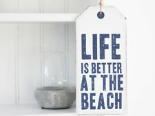 VINTAGE ANTIQUE SHABBY CHIC WEDDING LIFE IS BETTER AT THE BEACH PLAQUE WOOD SIGN