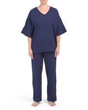 NWT N NATORI Navy Blue Phoenix Cotton Pajamas Set Medium - Retails $88.00