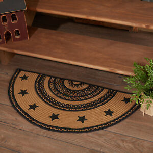 VHC Farmhouse Black Tan Stars Variegated Country Oval Braided Rug W/Pad
