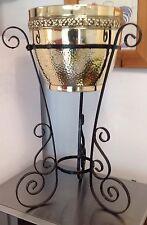 "Victorian Brass Planter Jardiniere on Ornate 3 leg wrought Iron Stand 23"" Tall"