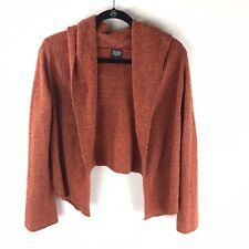 Eileen Fisher Womens Petite Size M Burnt Orange Cropped Sweater Hood Wool