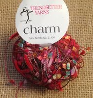 One Skein Trendsetter Yarn CHARM 20gr 86m Color 309 Red Made in Italy