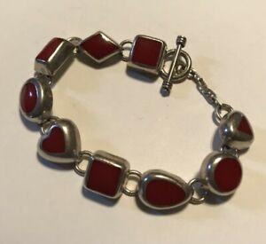 SILPADA - B0264 - Red Hot & Sterling Silver Bracelet RARE