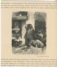 ANTIQUE NEWFOUNDLAND DOG CAT KISSING FIREPLACE COOKING KETTLE PETER MORAN PRINT