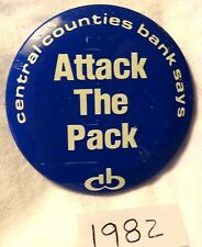 "Penn State - Central Bank Football Button - 1982 ""Attack The Pack"" - N.C. State"