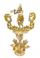 Brass Lord Krishna Oil Lamp Diya Statue Sculpture HinduDeepak Puja Room Decor