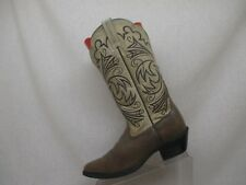 Ariat Brown Yellow Leather Western Cowboy Boots Women Size 6.5 B Style 15721