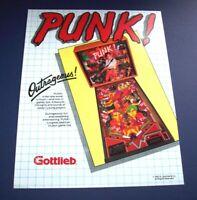 Pinball Art Punk Pinball Machine Ready To Frame FLYER Original NOS Gottlieb