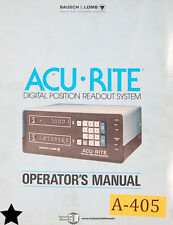Acu Rite Baush Lomb Digital Positioning Readout System, Operations Setup Manual