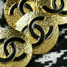 Chanel Button 4pc CC Black & Gold 23mm Vintage Style STAMPED 4 Buttons AUTH!!