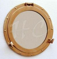 "15"" Maritime Brass Porthole Round Window Glass Nautical Boat Ship Portho Mirror"