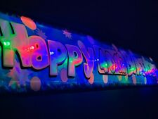 Blue Happy 40th  Birthday banner LED flashing light up sign decorations Bunting