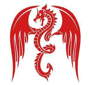 Winged Dragon 954 - Vinyl Sticker / Decal or Stencil - Custom Made to Order