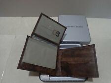 NEW IN BOX  GEOFFREY BEENE  BILLFOLD  LEATHER BROWN  MENS WALLET 4.5 X 3.5''