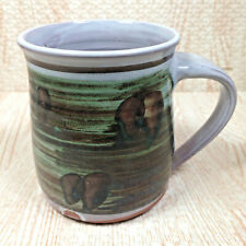 Vintage Earthenware Studio Pottery Mug Green Brown Freeform Design Incised DC 74