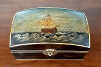 Antique Trinket Box Ships Chest Motif Nautical Sailboats Antique Lacquer