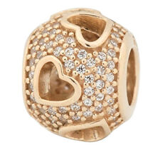 Authentic Pandora Tumbling Hearts 14k Yellow Gold Charm 750840 CZ European Bead