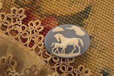 Vintage Cameo~Horses Button~Molded Resin~30X40mm~White/Blue~ For >^..^< Rescue